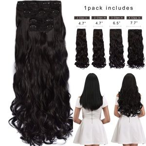 """✨24"""" BLACK BROWN CURLY 4 PIECE CLIP-IN EXTENSIONS✨"""